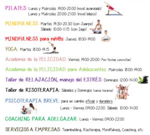 Actividades Bienestar Integral - PositivArte - Pilates - Yoga - Mindfulness - Academia de la Felicidad - Terapia eficaz - psicólogos Vallecas